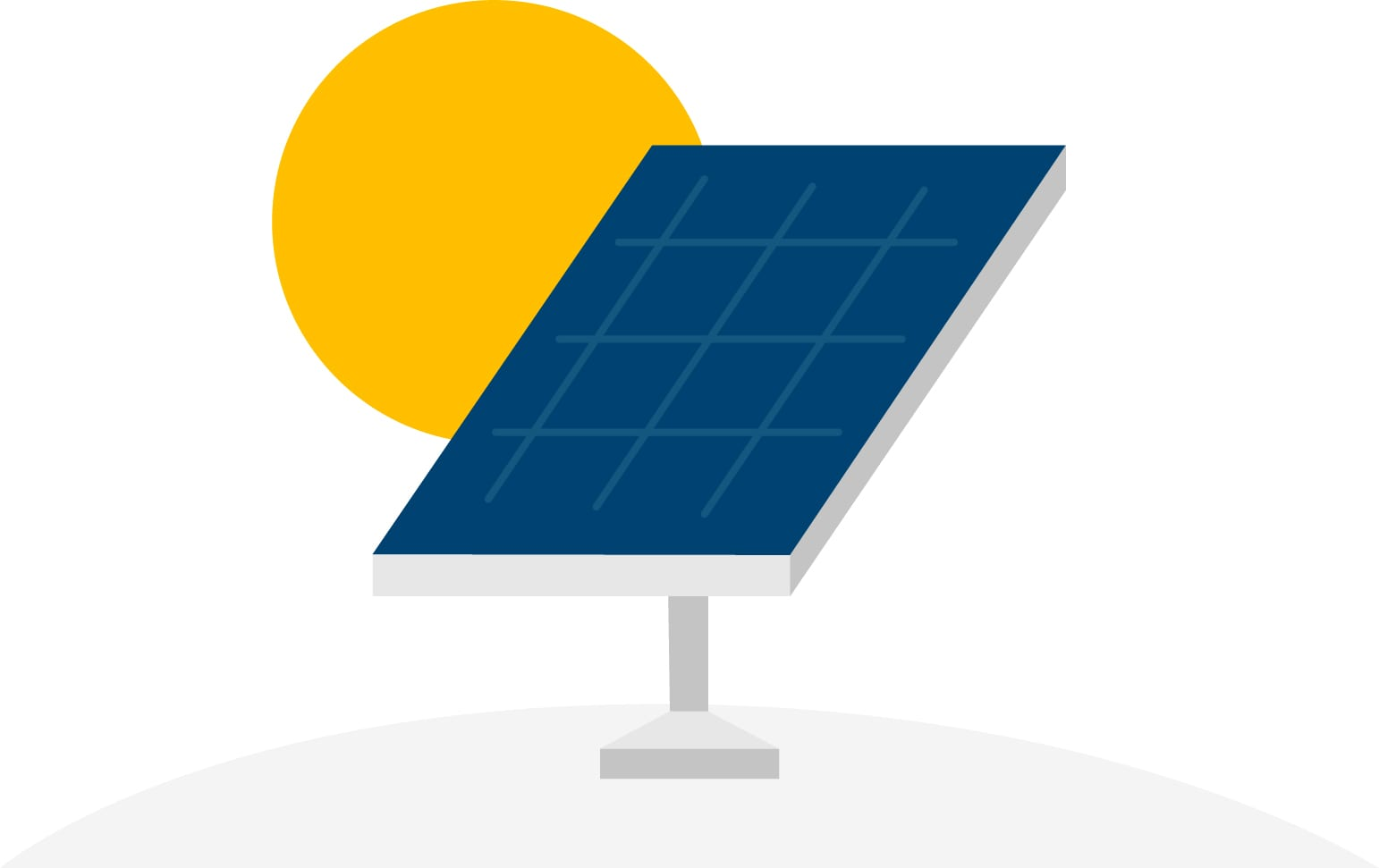 Graphic of a solar panel with sun